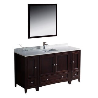 Fresca Oxford 60-inch Mahogany Traditional Bathroom Vanity with 2 Side Cabinets