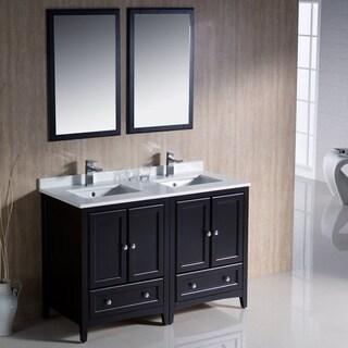 Fresca Oxford 48-inch Espresso Traditional Double Sink Bathroom Vanity