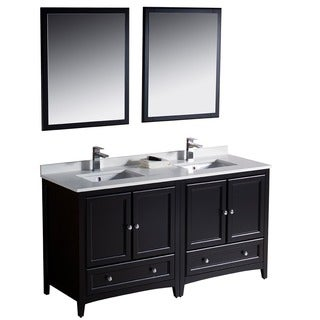 Fresca Oxford 60-inch Espresso Traditional Double Sink Bathroom Vanity