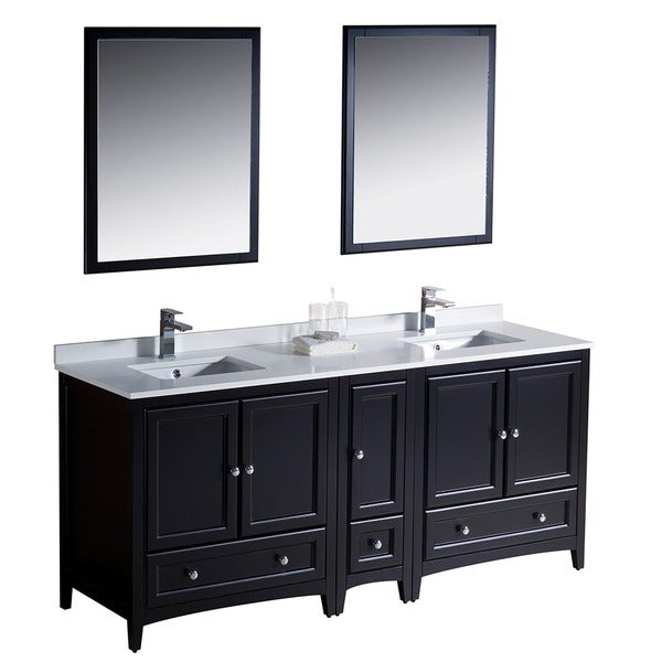 espresso traditional double sink bathroom vanity with side cabinet