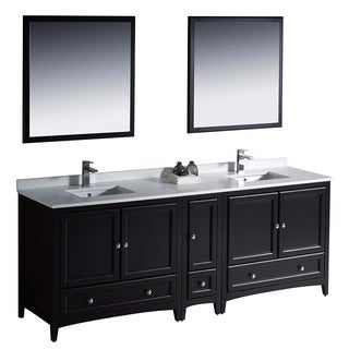 Fresca Oxford 84-inch Espresso Traditional Double Sink Bathroom Vanity with Side Cabinet