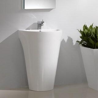 Fresca Parma White Pedestal Sink with Medicine Cabinet