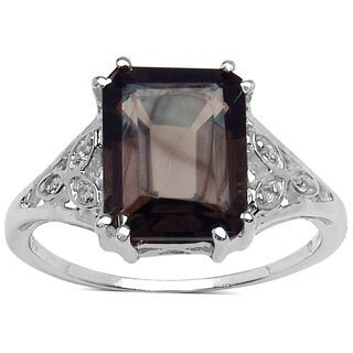 Sterling Silver Smoky Quartz and White Topaz 3ct TGW Ring