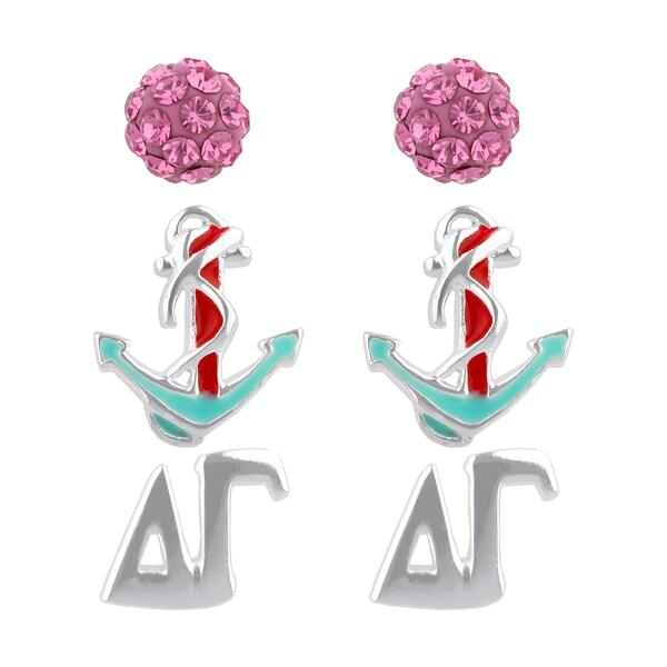 Sunstone Sterling Silver Crystal Delta Gamma Sorority 3-pair Earrings Set