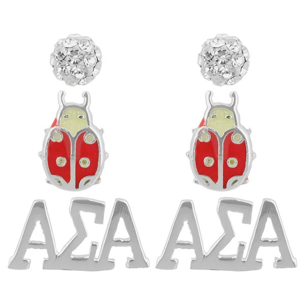 Sunstone Sterling Silver Crystal Alpha Sigma Alpha Sorority 3-pair Earring Set