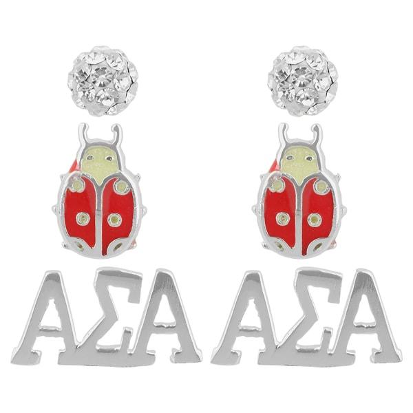 Sunstone Sterling Silver Crystal Alpha Sigma Alpha Sorority 3-pair Earring Set