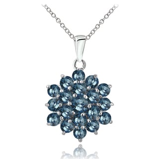 Glitzy Rocks Sterling Silver London Blue Topaz Cluster Necklace