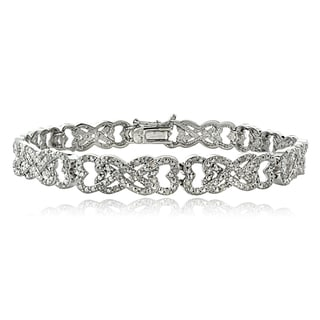 DB Designs 1ct TDW Diamond Interlocking Hearts Link Bracelet (I-J, I2-I3)