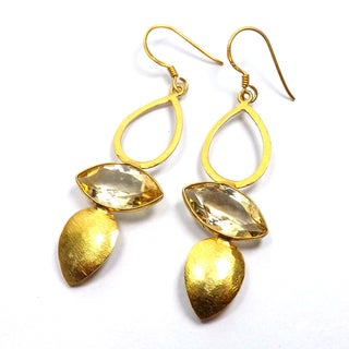 Handcrafted Goldplated Sterling Silver Citrine Dangle Earrings (India)