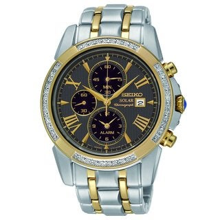 Seiko Men's SSC312 Stainless Steel Solar Alarm Chronograph Diamond Watch