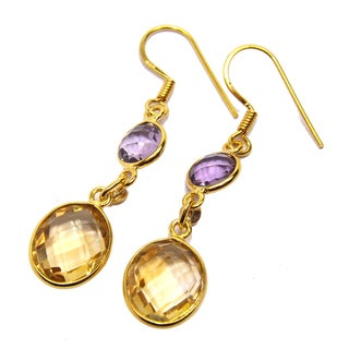 Handcrafted Goldplated Sterling Silver Citrine and Amethyst Earrings (India)