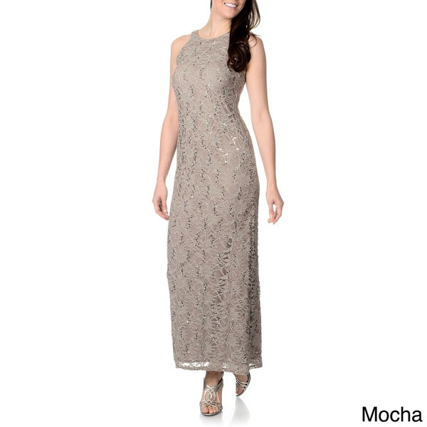 R&M Richards Women's Mocha Sequin Lace Evening Gown Mocha-8 (As Is Item)