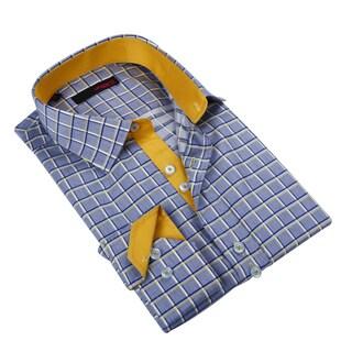 Ungaro Men's Blue/ Yellow Cotton Dress Shirt