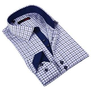 Ungaro Men's Stylish Navy/ Purple Cotton Dress Shirt