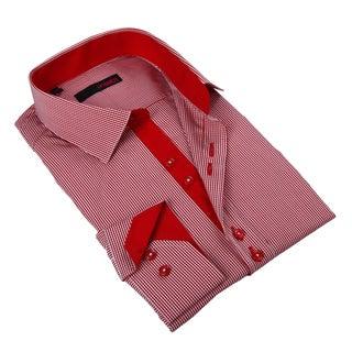 Ungaro Men's Stylish Red/ White Cotton Dress Shirt