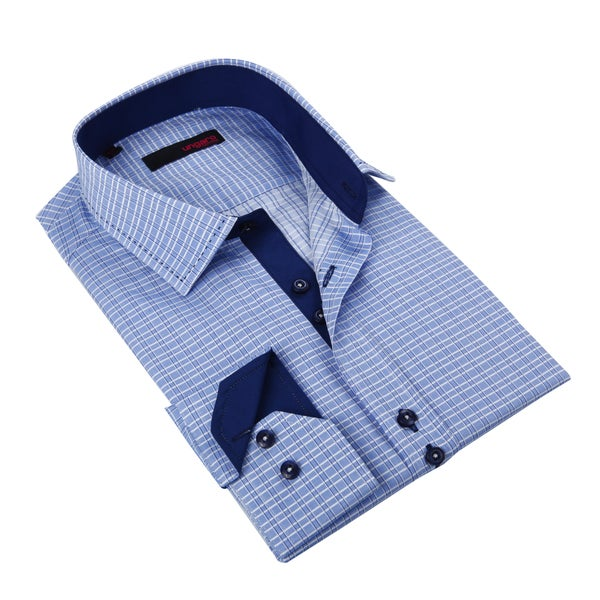 Ungaro Men's Blue Gingham Cotton Dress Shirt