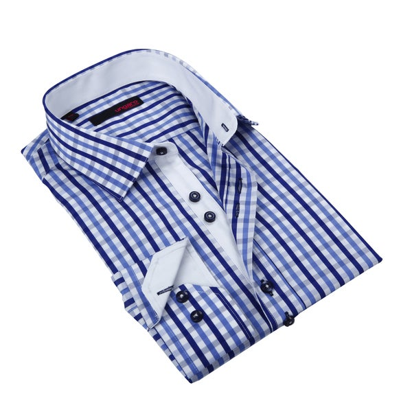 Ungaro Men's Blue/ White Gingham Cotton Dress Shirt