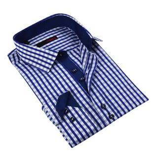 Ungaro Men's Blue/ White Cotton Dress Shirt