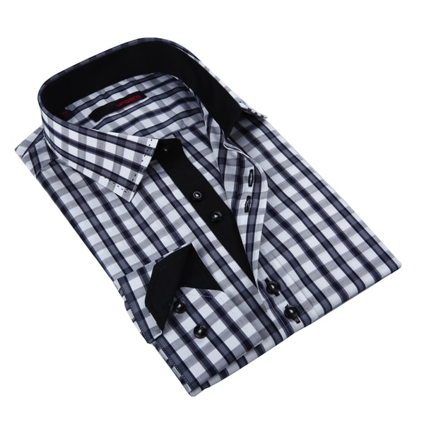 Ungaro Men's Black/ White Gingham Cotton Dress Shirt