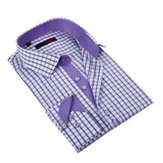 Ungaro Men's Purple/ White Cotton Dress Shirt