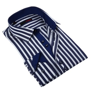 Ungaro Men's Handsome Navy/ White Striped Cotton Dress Shirt