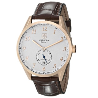 Tag Heuer Men's 'Carrera Calibre 6 Heritage' 18K Rose Gold and Leather Watch