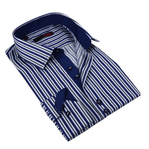 Ungaro Men's Navy/ White Striped Cotton Dress Shirt