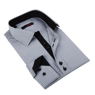 Ungaro Men's Black/ White Checkered Cotton Dress Shirt