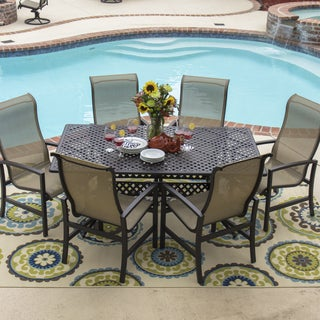 Acadia 7-piece Sling Dining Set with Stacking Chairs and Cast Aluminum Table