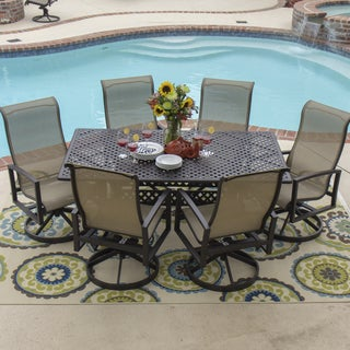 Acadia 7-Piece Sling Dining Set With Cast Aluminum Table