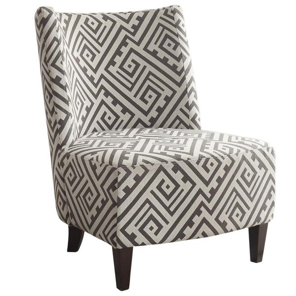 Valentina Designer Fabric Accent Chair-Grey/White