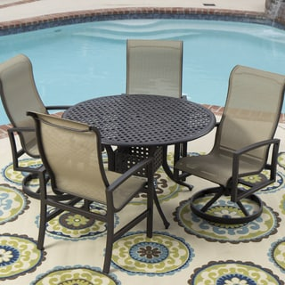 Acadia 5-piece Sling Patio Dining Set with Cast Aluminum Table