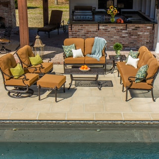 Evangeline Cast Aluminum Patio Deep Seating 7-piece Set