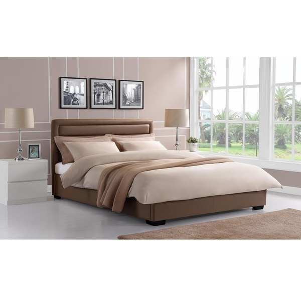 DHP Manhattan Premium Taupe Faux Leather Bed