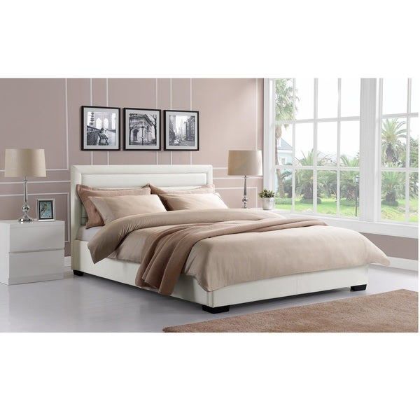 DHP Manhattan Premium Faux White Leather Bed