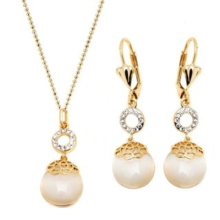 18k Gold Overlay Crystal Elements Flower Drop Earrings and Necklace Set