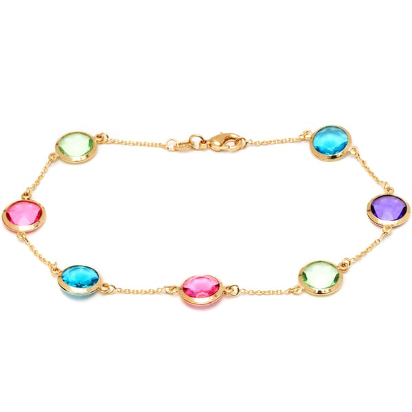 18k Gold-plated Mulitcolored Circle Stone Anklet