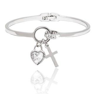Peermont Jewelry Rhodium-plated Crystal Heart and Cross Charm Bangle