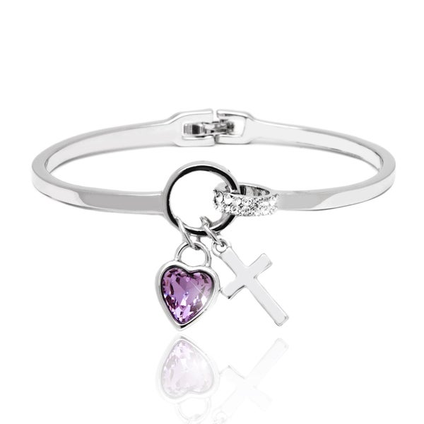Rhodium-plated Silver Amethyst Crystal Heart Cross Charm Bangle