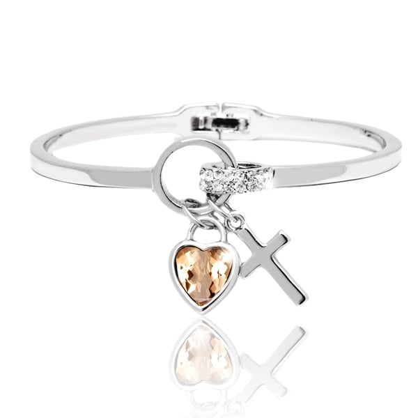 Gold over Silver Topaz and Crystal Charm Bangle Bracelet