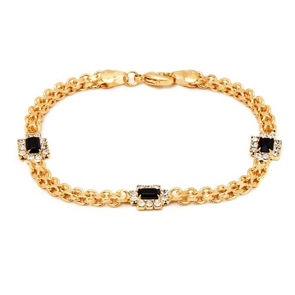 18k Goldplated Black/ Clear Crystal Frame Bracelet