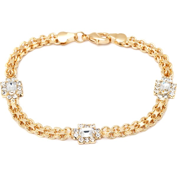 18k Goldplated Clear Crystal Frame Link Bracelet