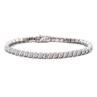 18k White Goldplated Round-cut Crystal Tennis Bracelet
