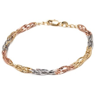 18k Tri-color Gold Overlay Diamond-cut Wire Chain Bracelet