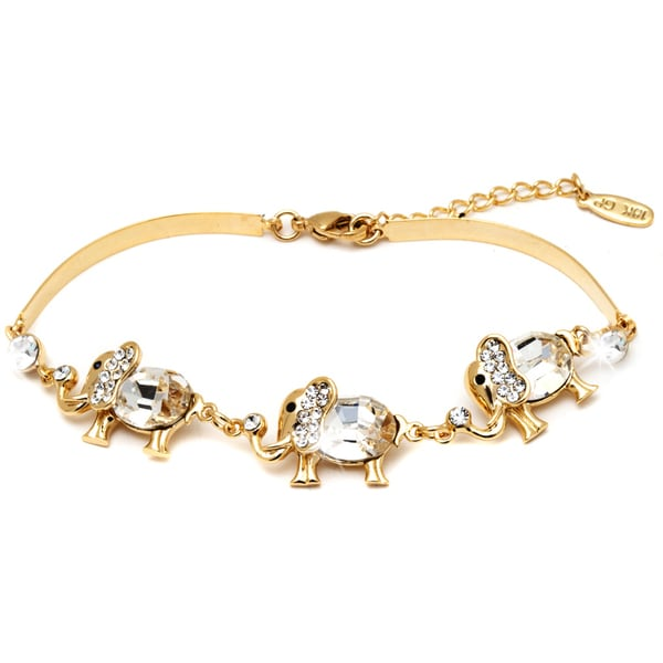 18k Gold-plated Triple Crystal Elephant Bracelet
