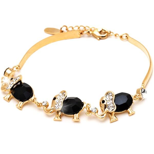 18k Gold Overlay Jet Black Crystal Triple Elephant Bracelet