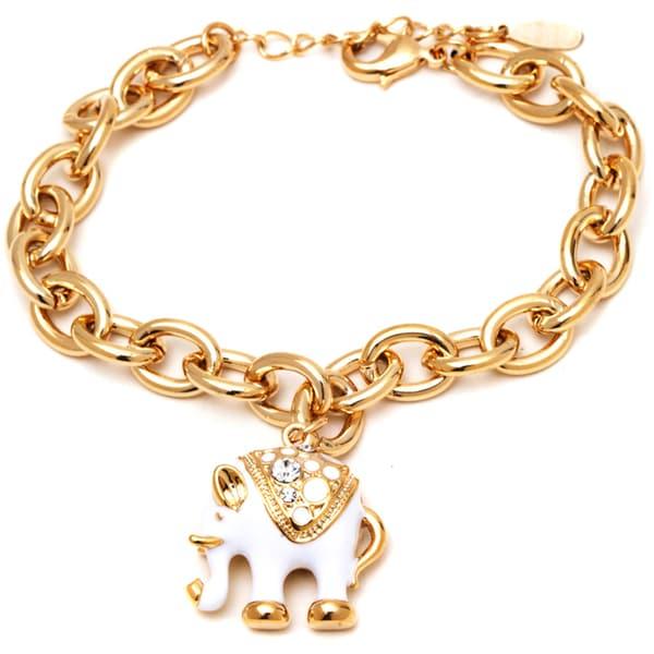 18k Yellow Gold Overlay Swarovski Crystal White Elephant Charm Bracelet