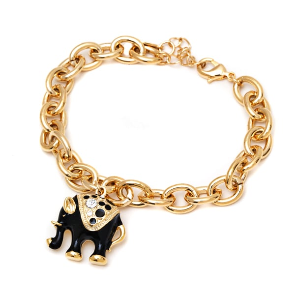 18k Goldplated Black Elephant Swarovski Elements Charm Bracelet
