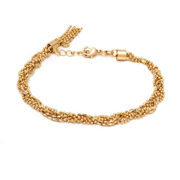 18k Gold-plated Ball and Snake Link Bracelet