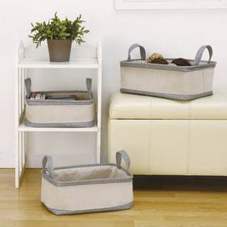 Grey/ Off-white Cotton Handle Storage Baskets (Set of 3)